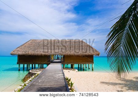 Spa salon on beach of tropical island, healthcare background