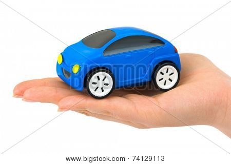 Hand and toy car isolated on white background
