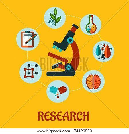 Research flat infographic