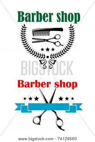 Two barber shop emblems or signs