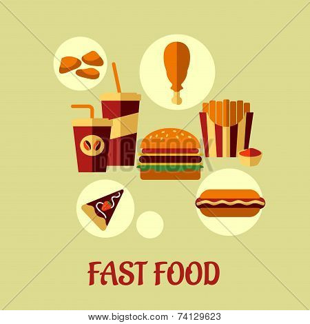 Fast food flat poster design