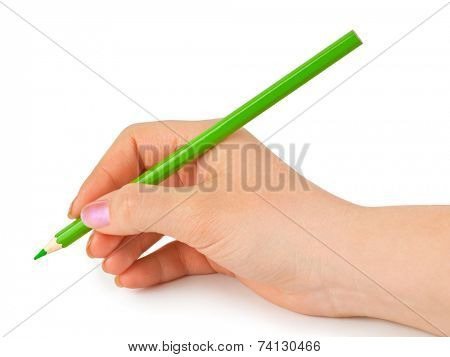 Green pencil in hand isolated on white background