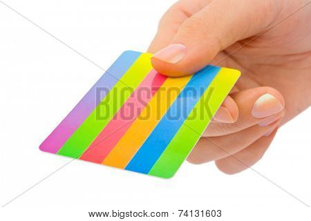 Hand with credit card isolated on white background