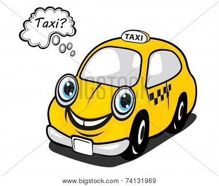 Cute yellow cartoon taxi with a thought bubble