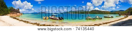 Panorama of bay on island Curieuse at Seychelles - nature background