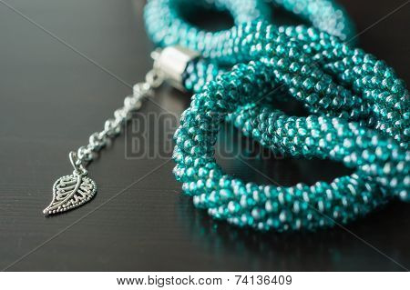 Necklace Fragment From Beads Of Color Aquamarine