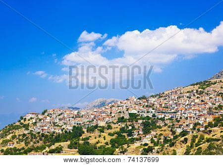 Resort of Arachova on mountain Parnassos, Greece - travel background