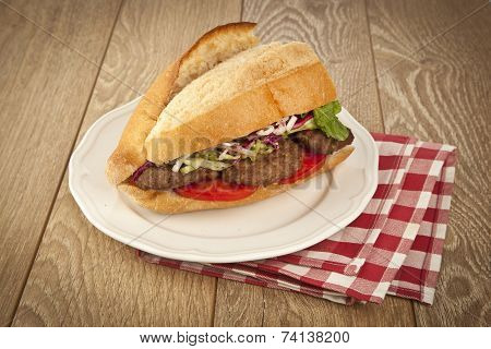 Delicious Turkish Kofte Sandwich (meatballs)