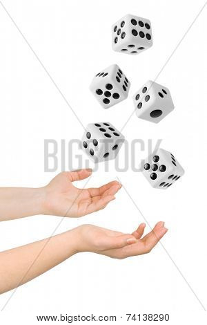 Hands throwing big dices isolated on white background