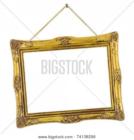 Retro frame at string isolated on white background