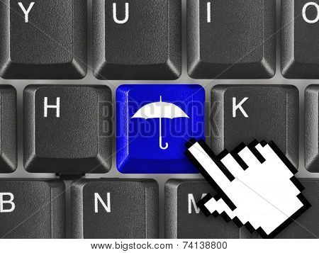 Computer keyboard with umbrella key - technology background