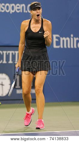 Five times Grand Slam champion Mariya Sharapova during first round match at US Open 2014