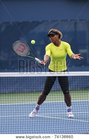 Seventeen times Grand Slam champion Serena Williams practices for US Open 2014