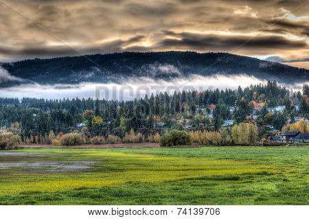 Autumn sunrise over Salmon Arm in the Canadian Rockies
