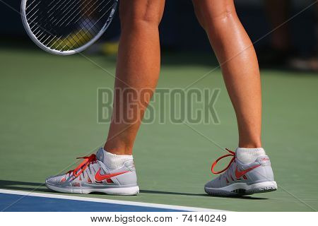 Five times Grand Slam champion Mariya Sharapova wears custom Nike tennis shoes during US Open match