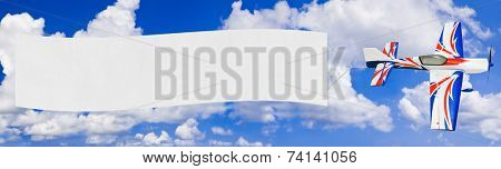 Flying airplane and banner - sky on background