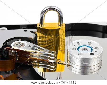 Computer harddrive and lock - security concept background
