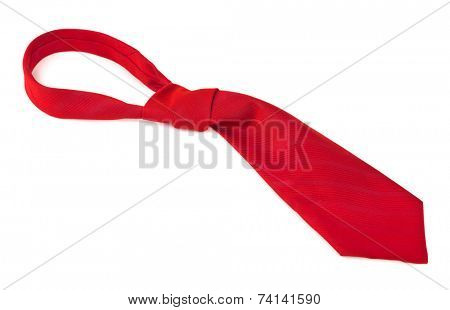 Red necktie isolated on white background