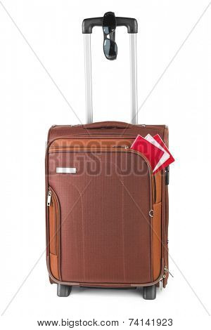 Travel case, passport and sunglasses isolated on white background