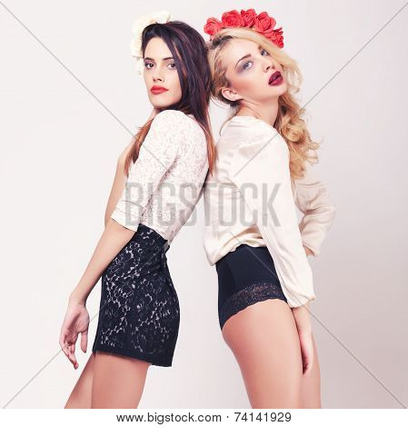 Two Hot Girls Full Lenght On Grey Background