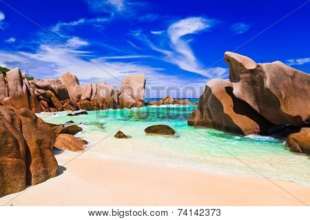 Tropical beach at Seychelles - nature background