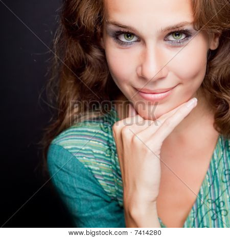 One Beautiful Elegant Stylish Young Woman