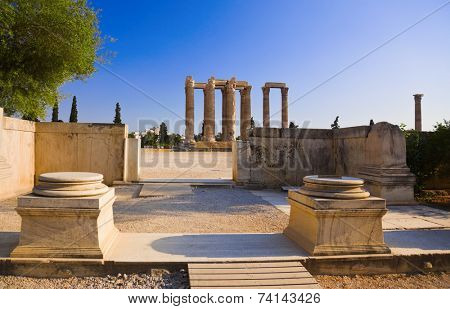 Temple of the Olympian Zeus at Athens, Greece - travel background