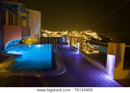 Santorini night - Greece vacation background