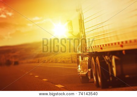 Modern Semi Truck In Motion