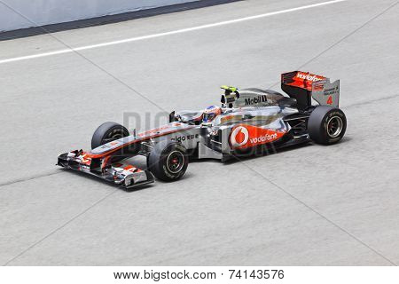 SEPANG, MALAYSIA - APRIL 8: Jenson Button (team Vodafone McLaren Mercedes) at first practice on Formula 1 GP, April 8 2011, Sepang, Malaysia