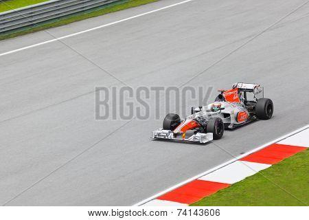 SEPANG, MALAYSIA - APRIL 8: Narain Karthikeyan (team Hispania Racing) at first practice on Formula 1 GP, April 8 2011, Sepang, Malaysia