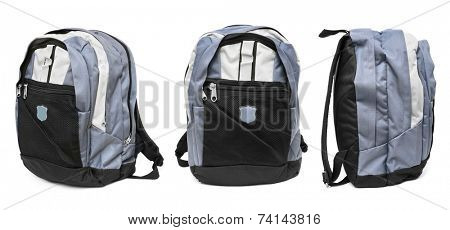 Set of backpack isolated on white background