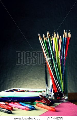 Different Colorful Art and Writing Materials