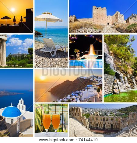 Collage of Greece travel images - nature and tourism background (my photos)