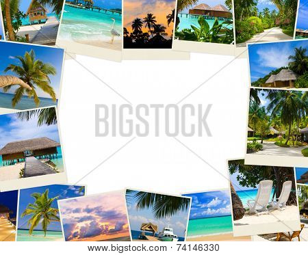 Frame made of summer beach maldives images - nature and travel background