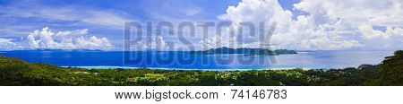 Panorama of island Praslin and Mahe at Seychelles - nature background