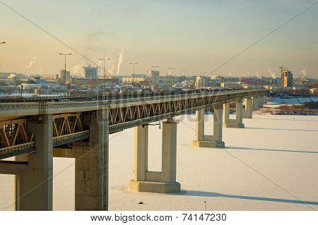 Metro bridge across the Oka River in Nizhny Novgorod