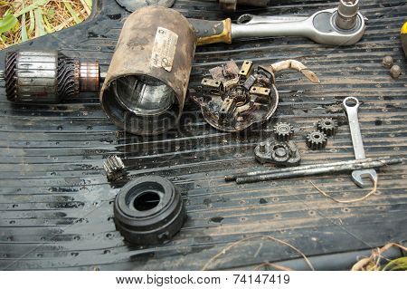 Disassembled starter