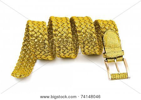 Gold woman belt isolated on white background