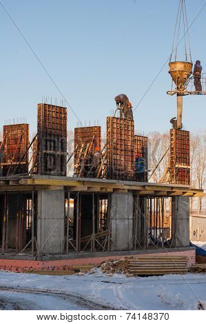 Izhevsk, Udmurtia/Russia - March 11: Building a Construction of monolithic houses 2013 March 11