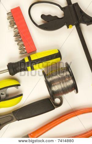 Carpentry tools, close up view