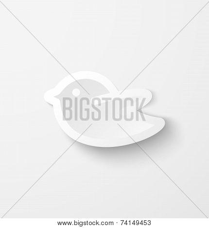White paper bird social media web icon