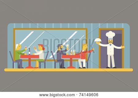 Restaurant Cafe with Chef and Visitors Characters Symbol Food House Interior Icon on Stylish Backgro