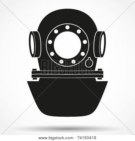 Silhouette symbol of Underwater diving helmet. Vector Illustration