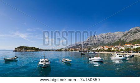 Panorama of Makarska in Croatia - resort travel background