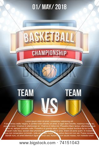 Background for posters basketball stadium game announcement. Vector