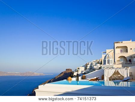Santorini morning (Firostefani) - vacation background