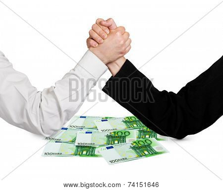 Two wrestling hands and money euro isolated on white background