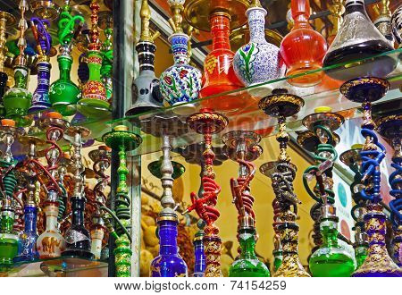 Hookah in souvenir shop at Istanbul Turkey
