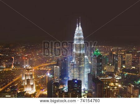 Twin towers at Kuala Lumpur (Malaysia) - architecture background
